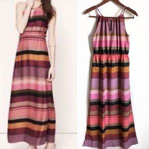 LOFT | NWT Multicolor Striped Keyhole Maxi Dress